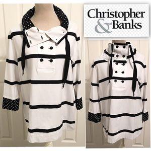 Christopher & Banks, Striped & Polka Dot Tunic Top